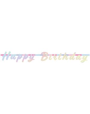versiering Letterslinger Happy Birthday Parelmoer