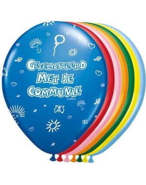 Ballonnen Ballonnen Gefeliciteerd met je Communie  Assorti Gekleurd