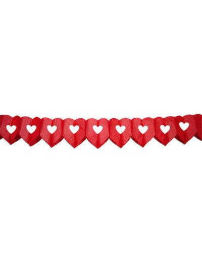 versiering Papier Slinger Hartjes Rood - 6 meter