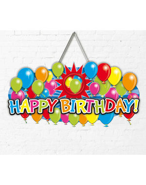 Versiering Deurbord Happy Birthday Balloons