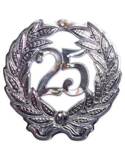 versiering 3D Deurschild Zilver 25 Jaar