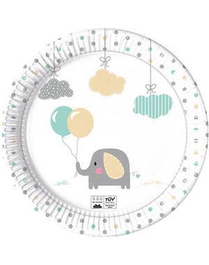 Tafelservies Bordjes Baby Olifant  Composteerbaar - 8stk
