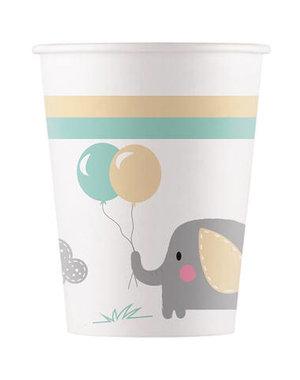 Tafelservies Bekertjes Baby Olifant  Composteerbaar - 8stk