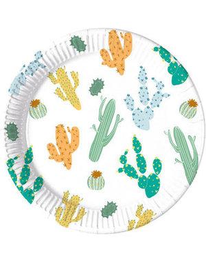 Tafelservies Bordjes Cactus Composteerbaar - 8stk/23cm