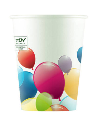 Tafelservies bekertjes Ballonnen Composteerbaar - 8stk