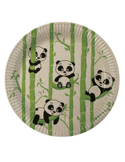 Tafelservies Bordjes Panda Composteerbaar - 8stk/23cm