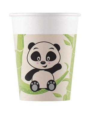 Tafelservies Bekertjes Panda  Composteerbaar - 8stk