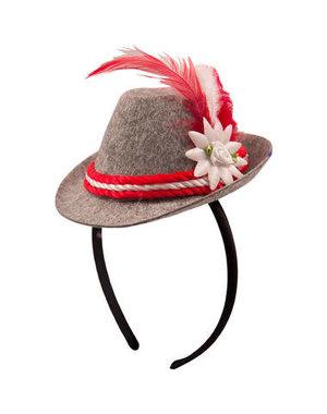 accessoires Tiara Mini Trilby Hoedje Oktoberfest - Rood