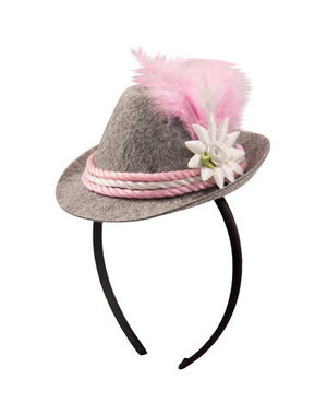 accessoires Tiara Mini Trilby Hoedje Oktoberfest - Roze