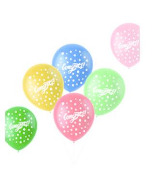 Latexballonnen Retro Ballonnen Congrats - 6stk