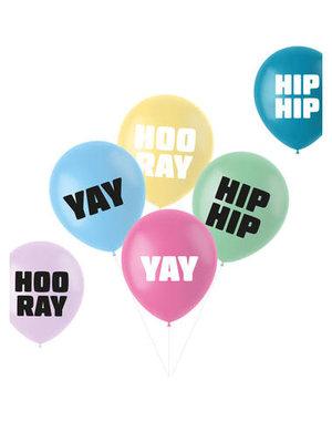 Latexballonnen Retro Ballonnen Hip Hip Hooray Yay Pastel - 6stk