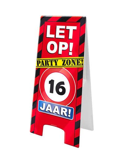 Versiering Warning Sign Kroonleeftijden - 16 t/m 80 Jaar