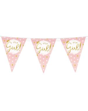 Versiering Vlaggenlijn It's a Girl Dots