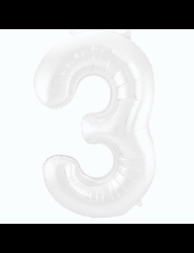 Folieballon Folieballon Wit Metallic Mat Cijfer 3