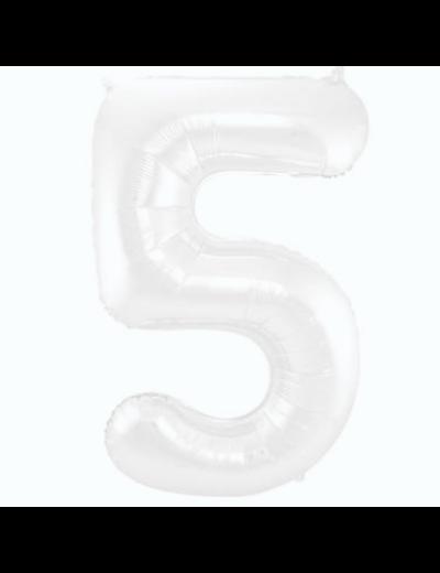 Folieballon Folieballon Wit Metallic Mat Cijfer 5