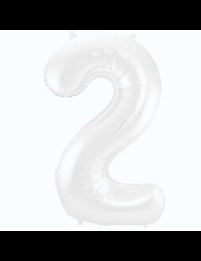 Folieballon Folieballon Wit Metallic Mat Cijfer 2