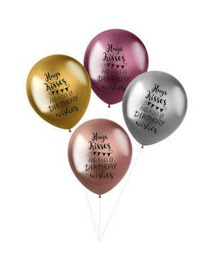 Latexballonnen Shimmer Ballonnen Hugs, Kisses & Wishes - 4stk