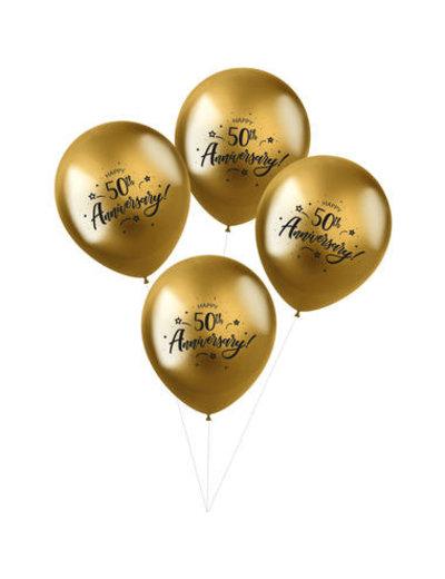 Latexballonnen Shimmer Ballonnen 50th Anniversary - 4stk