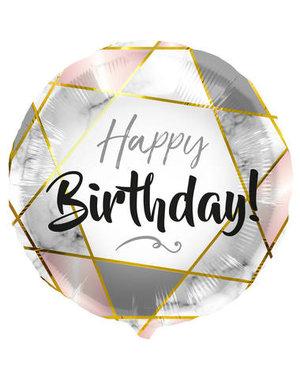 Folieballon Happy Birthday Marmer - 45cm