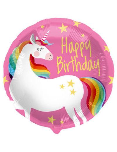 Folieballon  Happy Birthday  Unicorn - 45cm