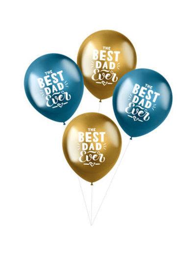 Latexballonnen Shimmer Ballonnen Best Dad Ever - 4stk