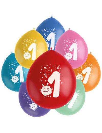 Ballonnen Color Pop 1 jaar - 8stk