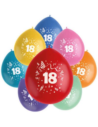 Ballonnen Color Pop 18 Jaar - 8stk