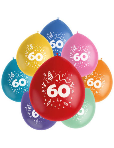 Ballonnen Color Pop 60 Jaar - 8stk