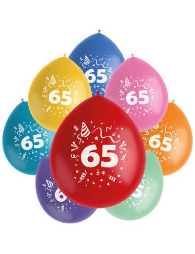 Ballonnen Color Pop 65 Jaar - 8stk