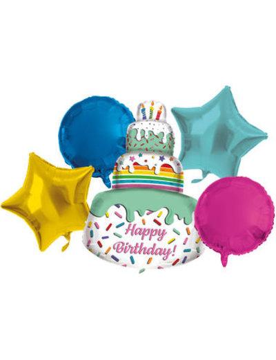 Foliebalon Folieballonnen Set Happy Birthday  Cake - 5stk