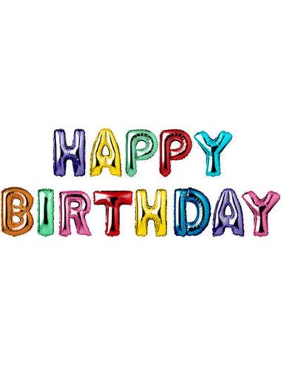 Foliebalon Folieballonnen Happy Birthday  Letters - 13stk