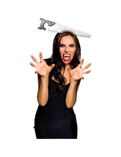 Horror Tiara met zaag in hoofd