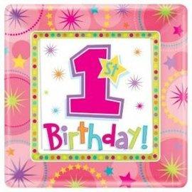 Roze 1st Birthday Kartonnen Gebaksbordjes