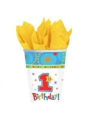 Blauwe 1st Birthday Kartonnen Bekers