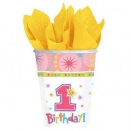 Roze 1st Birthday Kartonnen Bekers