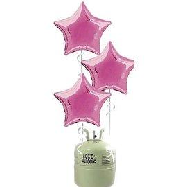Helium Tank met 20x Grote Roze Ster Helium Ballonnen