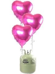 Helium Tank met Roze Hartjes Folieballonnen - 20 stk