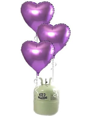 Heliumfles met 20x Lila Hartjes Folieballonnen