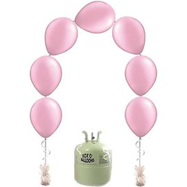 Heliumfles met 25x Roze Knoopballonnen Ballonboog