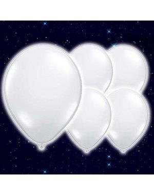 5x Witte Lichtgevende Helium Ballonnen