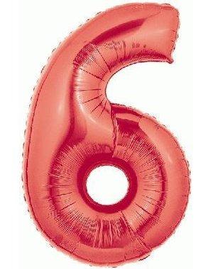 Folieballon Rood Cijfer 6- 100cm