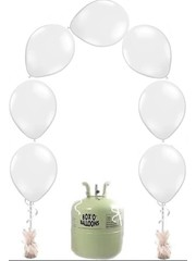 Heliumfles met 25x Witte Knoopballonnen Ballonboog