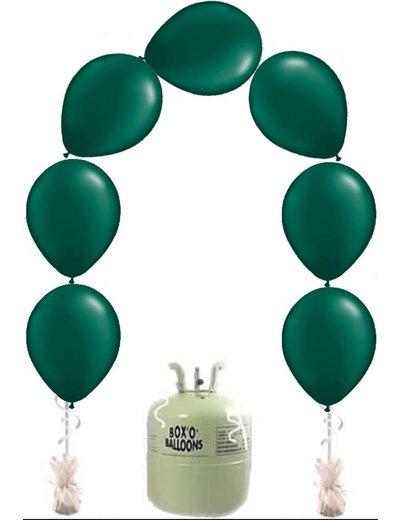 Heliumfles met 25x Groene Knoopballonnen Ballonboog