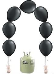 Heliumfles met 25x Zwarte Knoopballonnen Ballonboog