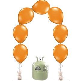 Heliumfles met 25x Oranje Knoopballonnen Ballonboog