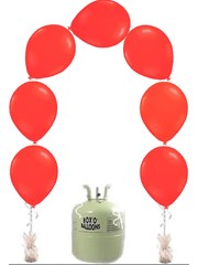 Helium Tank met 25x Rode Latex Knoopballonnen