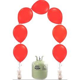 Heliumfles met 25x Rode Knoopballonnen Ballonboog