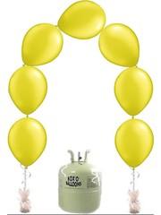 Heliumfles met 25x Gele Knoopballonnen Ballonboog