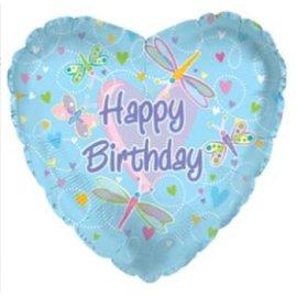Lichtblauwe Happy Birthday Folie Ballon