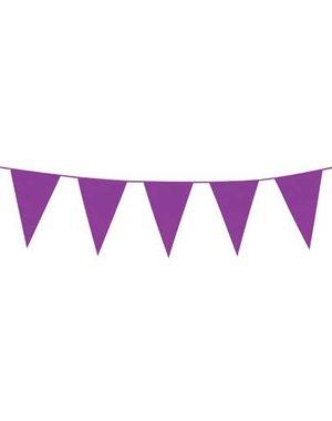 Paarse Vlaggenlijn Slinger 10m Lang